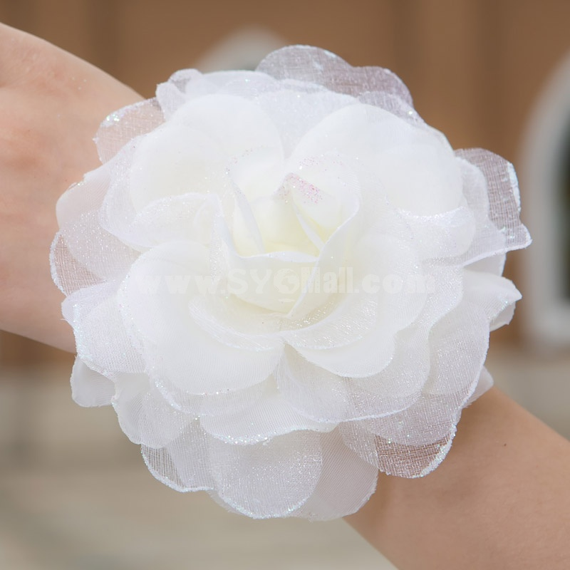 White Gorgeous Tulle/ Polyester Wedding Bridal Flower/ Corsage/ Headpiece 03