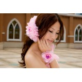 Wholesale - Pink Gorgeous Tulle/ Polyester Wedding Bridal Flower/ Corsage/ Headpiece 08