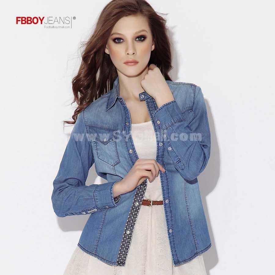 FBBOY Retro Style Slim Solid Denim Shirt Long Sleeves Denim Jacket Blouse FGS1010