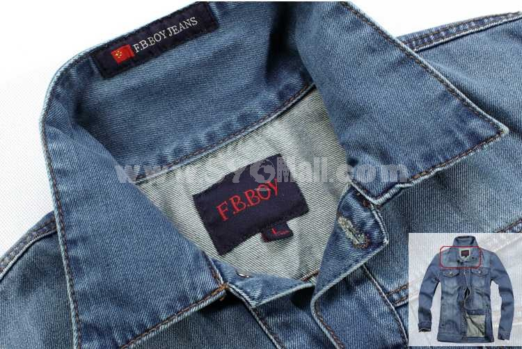 FBBOY Retro Style Slim Solid Denim Shirt Long Sleeves Denim Jacket Blouse F163