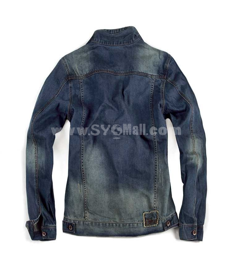 FBBOY Retro Style Slim Solid Denim Shirt Long Sleeves Denim Jacket Blouse F166