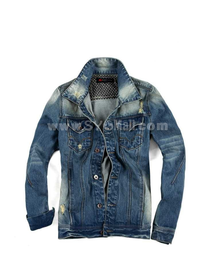 FBBOY Retro Style Slim Solid Denim Shirt Long Sleeves Denim Jacket Blouse F188