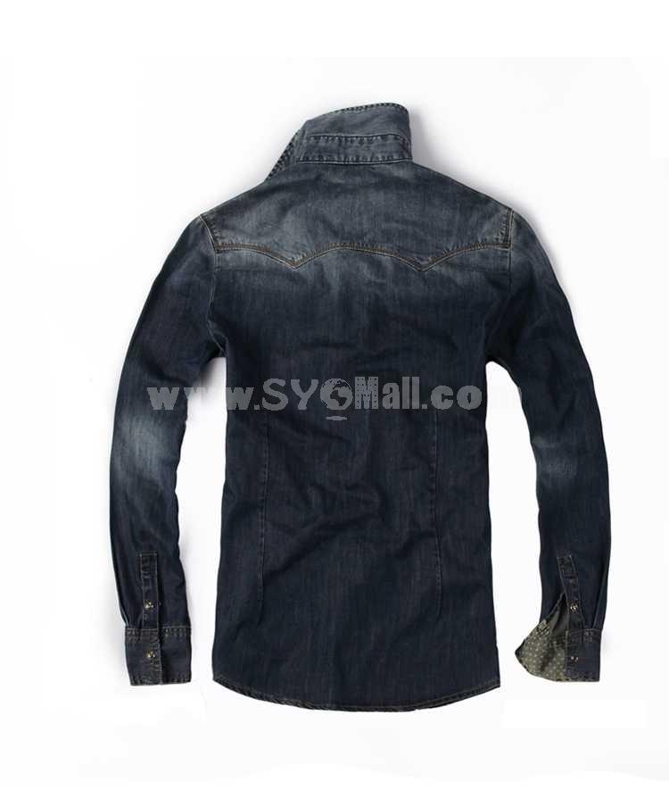 FBBOY Retro Style Slim Solid Denim Shirt Long Sleeves Denim Jacket Blouse F185
