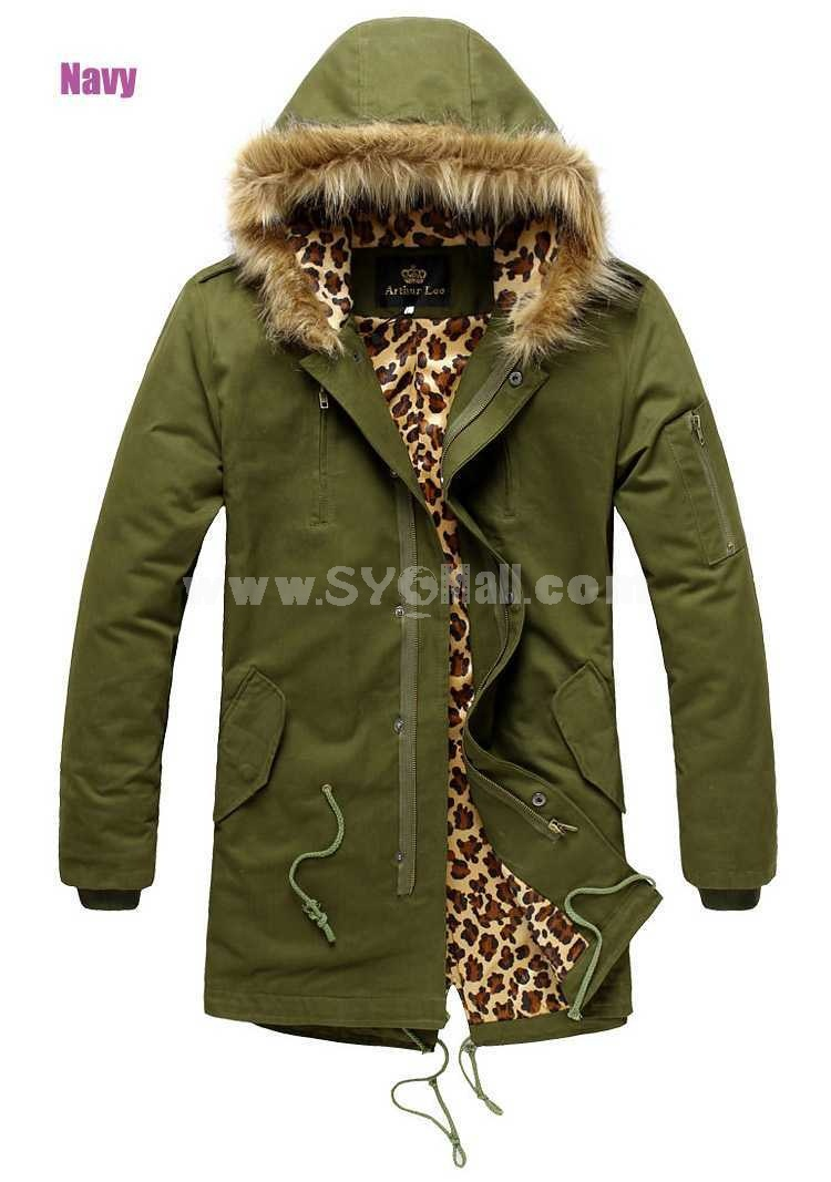 Fashionable Extra-Thick Medium Length Leopard Coat (1706 -Y22)