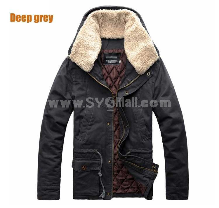 Fashionable Extra-Thick Multi-Pocketed Pure Color Cotton-Padded Coat (501B-B117)