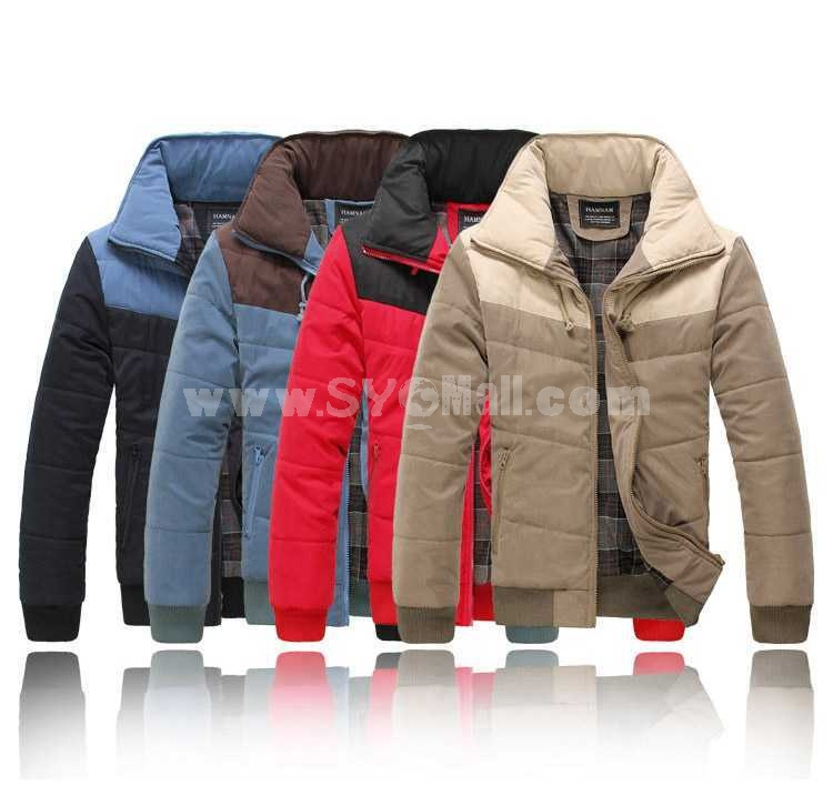 Fashionable Bicolor Lapel Casual Cotton-Padded Coat (501B-B145)