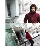 Wholesale - Fashionable Extra-Thick Wine Cotton-Padded Coat (1704-CY174)