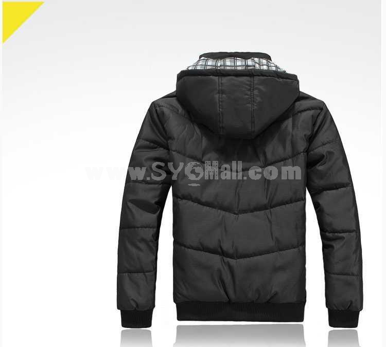 Men's Coat Hooded Extra Thick Cotton Padded Fashion (1616-Y229)