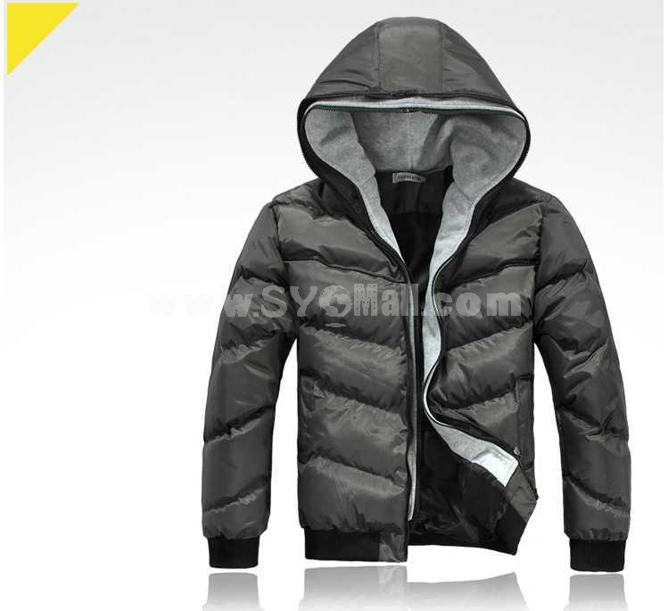 Gusskater Men's Coat Hooded Two piece Extra Thick Cotton Padded Fashion (1616-Y228)