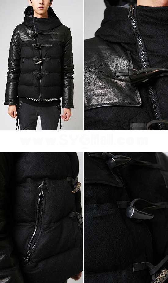 Men's Coat Extra Thick Slim Cotton Padded Worsted Leather Sleeves  (1015-W132)