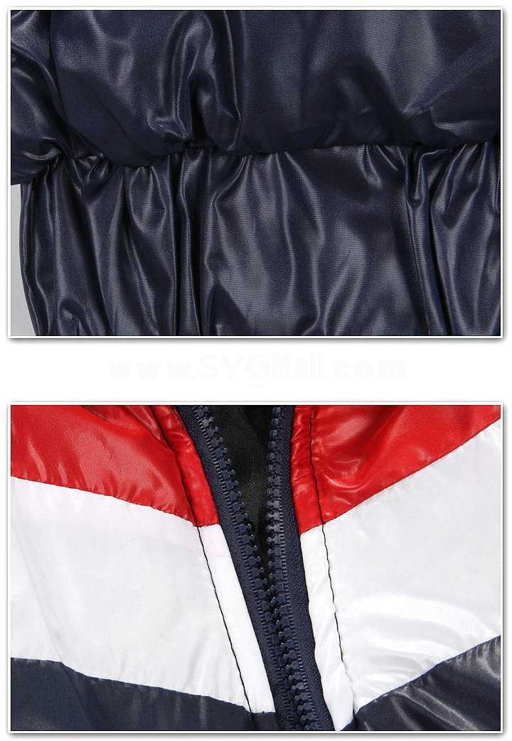 Men's Coat Extra Thick Hooded Cotton Padded Stripes Pattern (1015-W127)