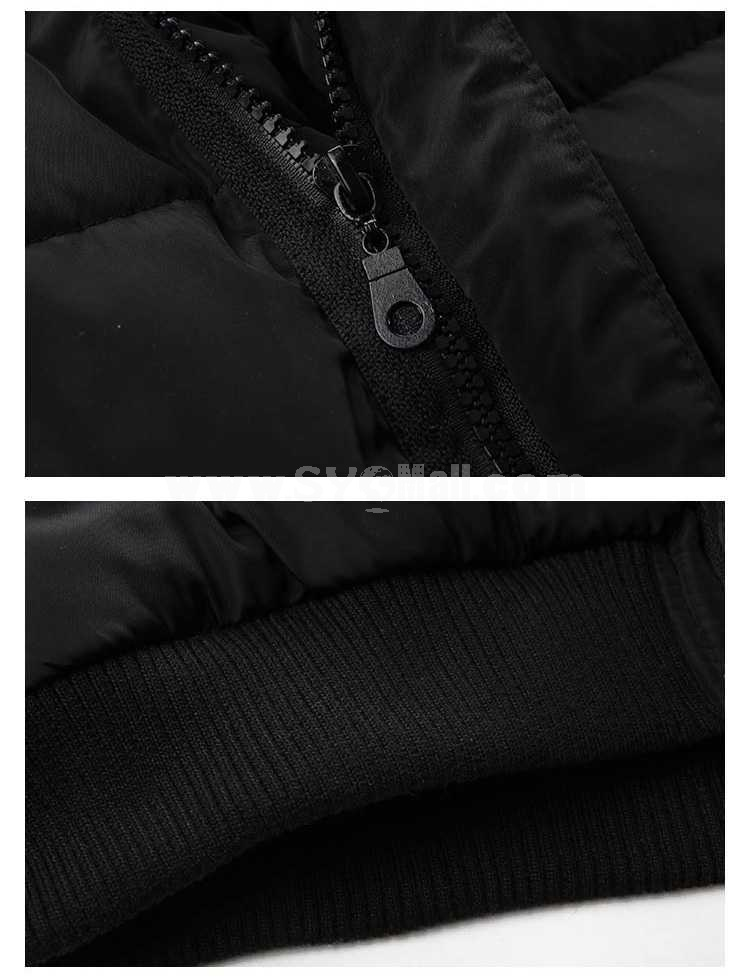 Men's Coat Cotton Padded Casual Hooded with Red Chamois Leather Breast-Pocket (1115-W03)