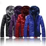 Wholesale - Men's Coat Cotton Padded Hooded Slim Pure Color (11-501B--B02)