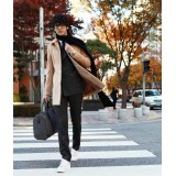 Wholesale - Men's Coat Fur Collar Single-Breasted Puer Color Fashion Leisure (1115-F03)