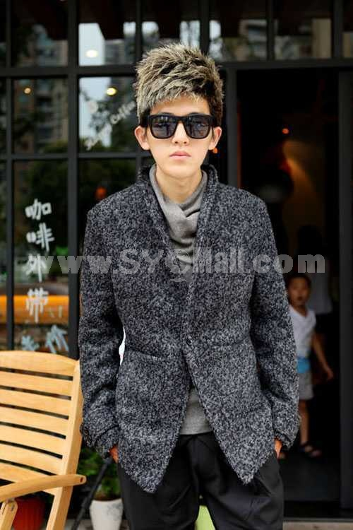 Men's Coat Wool One-Button Stand Collar Fashion (501B-B104)