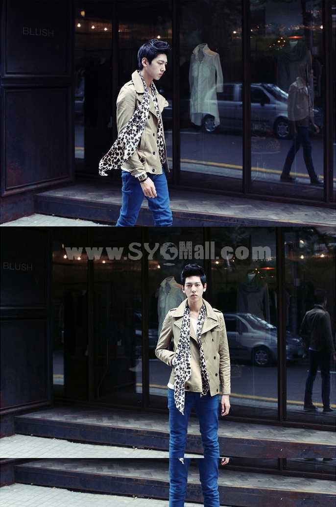Men's Coat Double-Breasted Khaki Simple Style (810-Q08)