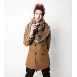 Wholesale - Men's Coat Fur Collar Pure Color Medium Length Fashion (258-F05)