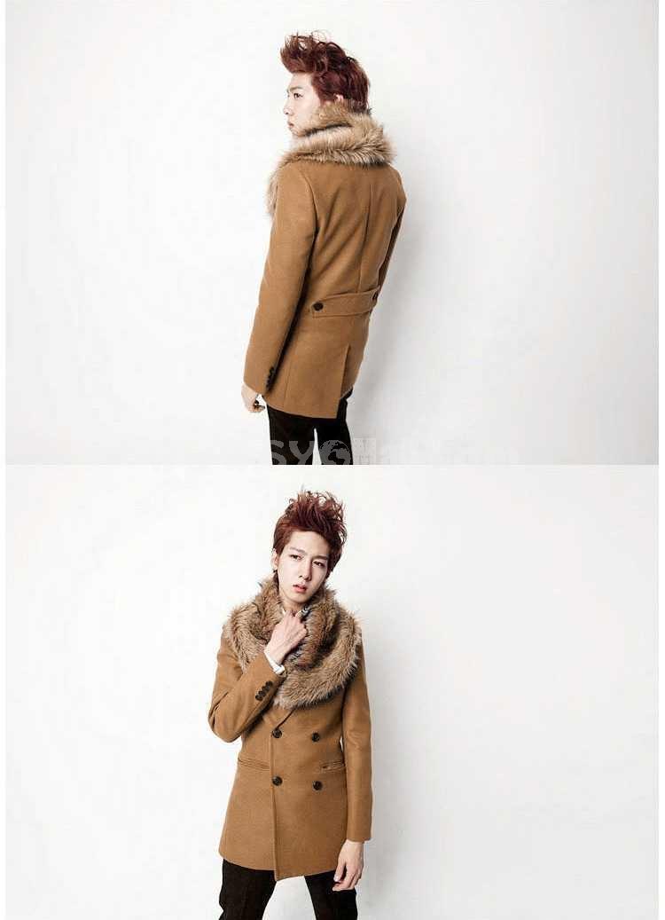 Men's Coat Fur Collar Pure Color Medium Length Fashion (258-F05)