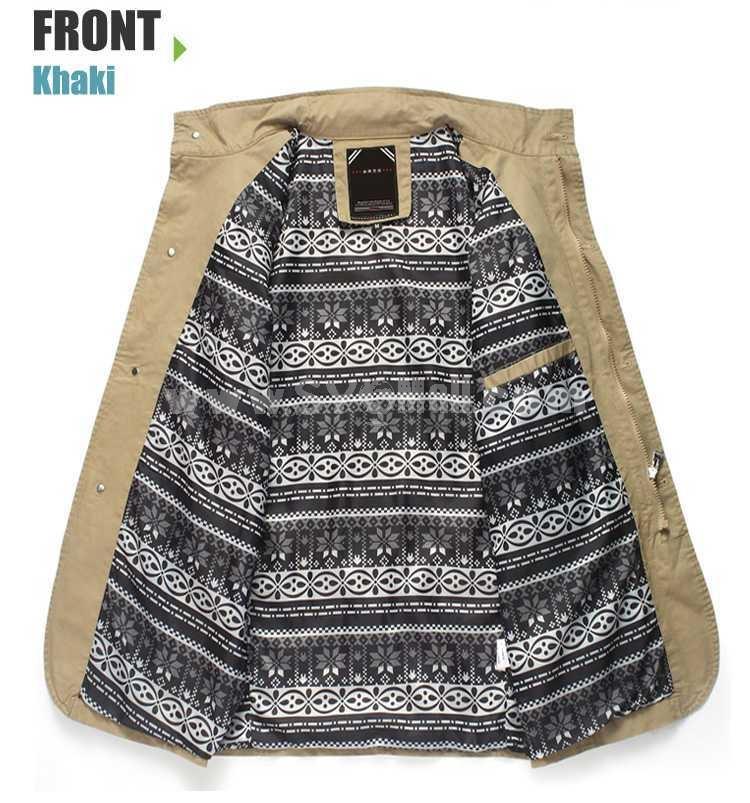 Men's Coat 100% Cotton Slim Pure Color Stand Collar Fashion (1616-Y205)