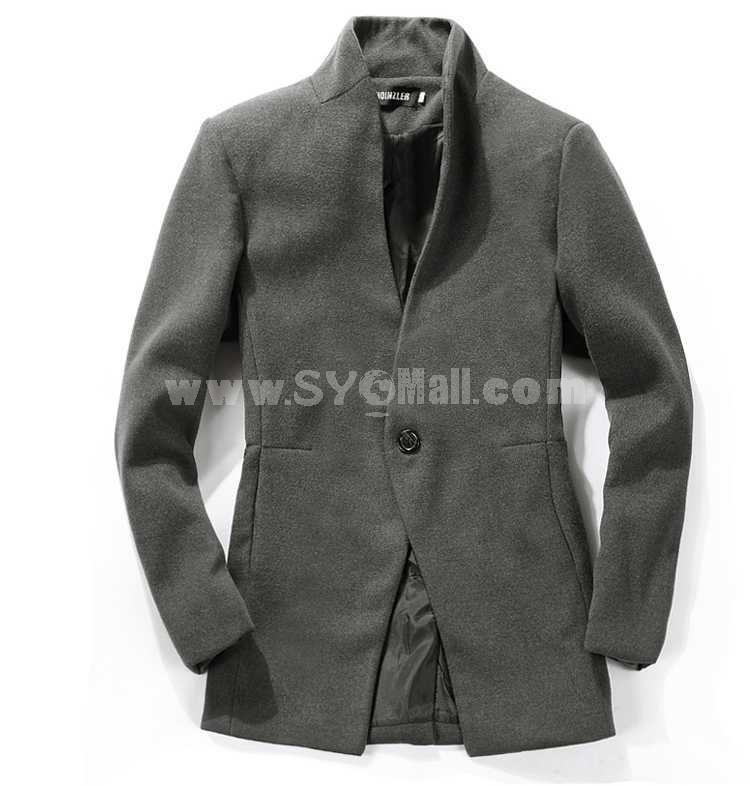 Men's Coat Stand Collar Pure Color One-Button Slim (1258-F07)
