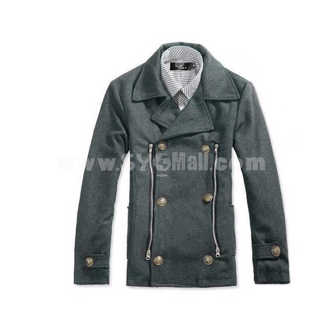 Men's Coat Double-Breasted Lapel Pure Color Slim Wool (1106-A34)