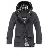 Wholesale - Men's Coat Extra Thick Plaid Lining Hooded Wool (10-1616-Y223)
