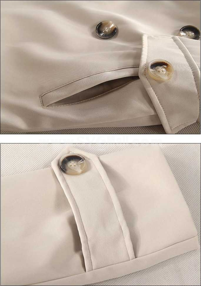 Men's Coat Double-Breasted Medium Length Wide Lapel Pure Color (10-209-6389)