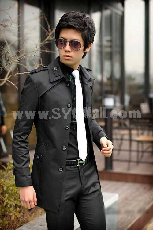 Men's Coat Medium Length Pure Color Fashion (10-1616-Y166)