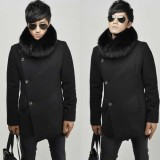 Wholesale - Men's Coat Fur Collar Medium Length Wool Business Casual Pure Color (8-1018-H20)