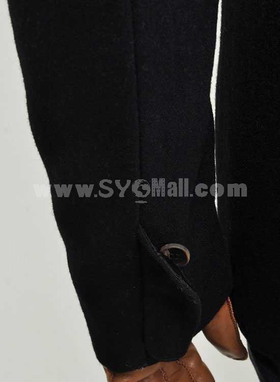 Men's Coat Fur Collar Medium Length Wool Business Casual Pure Color (8-1018-H20)
