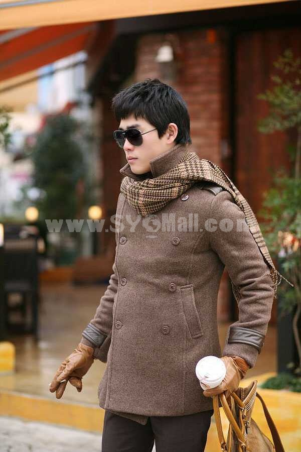 Men's Coat Double-Breasted Wide Lapel Wool Leisure Brown (8-1018-H24)