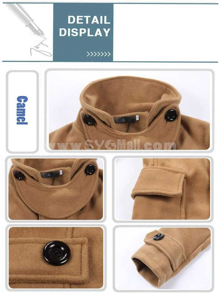 Men's Coat Wide Lapel Double-Breasted Medium Length Pure Color (12-1014-M8)