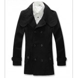 Wholesale - Men's Coat Narrow Lapel Medium Length Double-Breasted Slim Wool (11-302-D18)