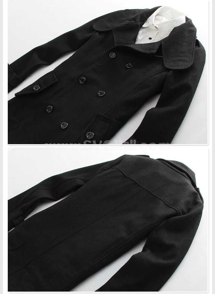 Men's Coat Narrow Lapel Medium Length Double-Breasted Slim Wool (11-302-D18)