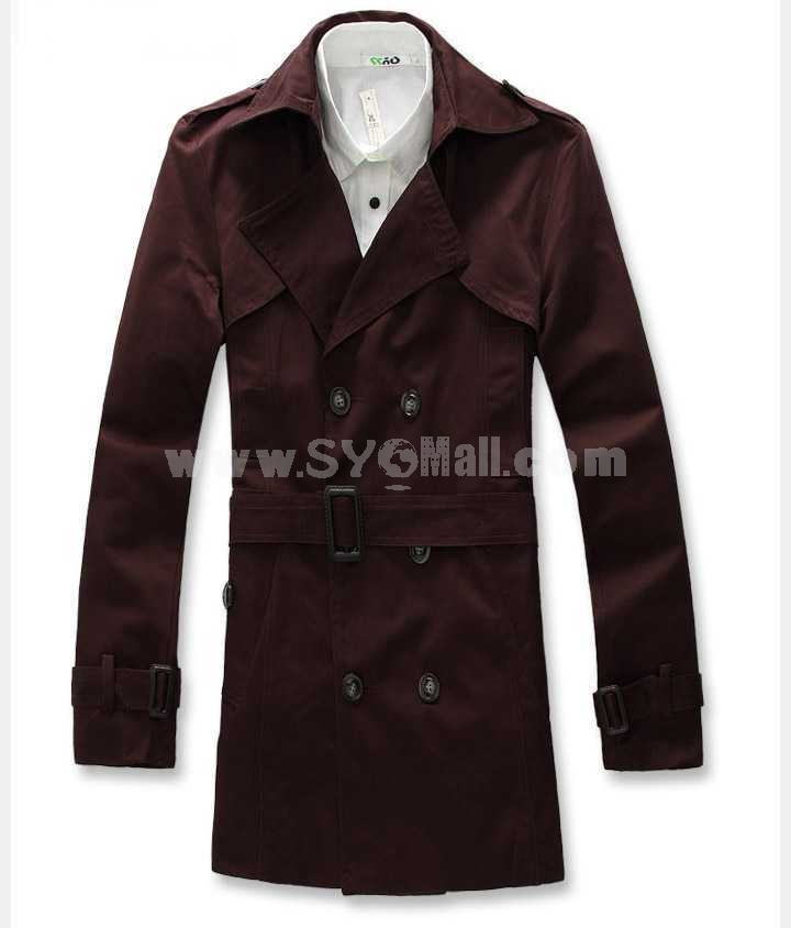Men's Coat Wide Lapel Double-Breasted Medium Length Business Casual Pure Color (11-302-D19)
