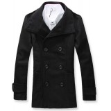 Wholesale - Men's Coat Stand Collar Double-Breasted High Quality Wool Fashion (11-1107-Y03)