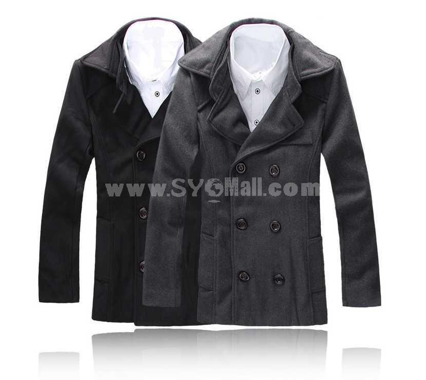 Men's Coat Double Wide Lapel Simple Style Slim Pure Color Wool (11-1107-D06)