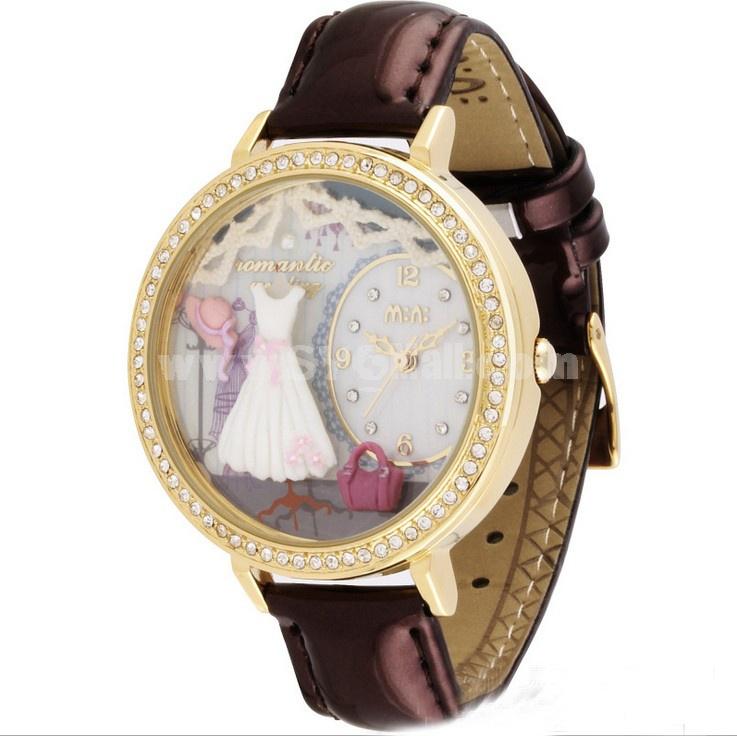 MINI Clay Quartze Round Dial Double-layer Waterproof Watch Rhinestone Cartoon Creative PVC Band Watch MNS1039A