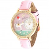 Wholesale - MINI Quartze Round Dial Double-layer Waterproof Watch Rhinestone Cartoon Creative PVC Band Watch MN1018