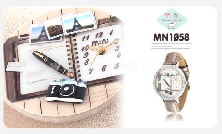 MINI Clay Quartze Round Dial Waterproof Watch Rhinestone Cartoon Creative PVC Band Watch mn1058