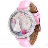 Wholesale - MINI Quartze Round Dial Double-layer Waterproof Watch Rhinestone Cartoon Creative PVC Band Watch MNS1039B