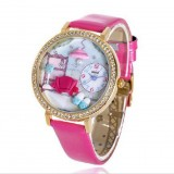 Wholesale - MINI Quartze Round Dial Waterproof Watch Rhinestone Cartoon Creative PVC Band Watch MNS1041A