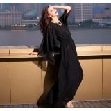 Wholesale - V-neck Chiffon Soild Color Falbala Asymetric Party Dress
