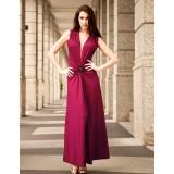 Wholesale - Sleeveless Cotton V-neck Empire Soild Color Party Dress
