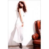 Wholesale - Sleeveless Cotton Round Neck Falbala Soild Color Party Dress