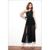 Wholesale - Sleeveless Cotton One Shoulder Empire Soild Color Party Dress