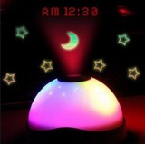 Wholesale - Cute & Novel Star Effect 3 Color Night Light with Projecting Clock and LED Lamp