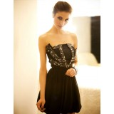 Wholesale - Retro Mini Strapless Chiffon Soild Color Off-the-shoulder Party Dress