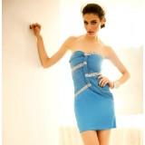 Wholesale - Mini Strapless Chiffon Soild Color Off-the-shoulder Party Dress