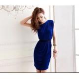 Wholesale - One Shoulder Slim Cotton Lace Soild Color Mini Party Dress